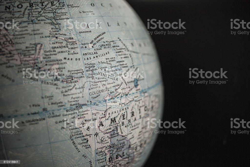 globo terr?queo am?rica del sur y caribe stock photo