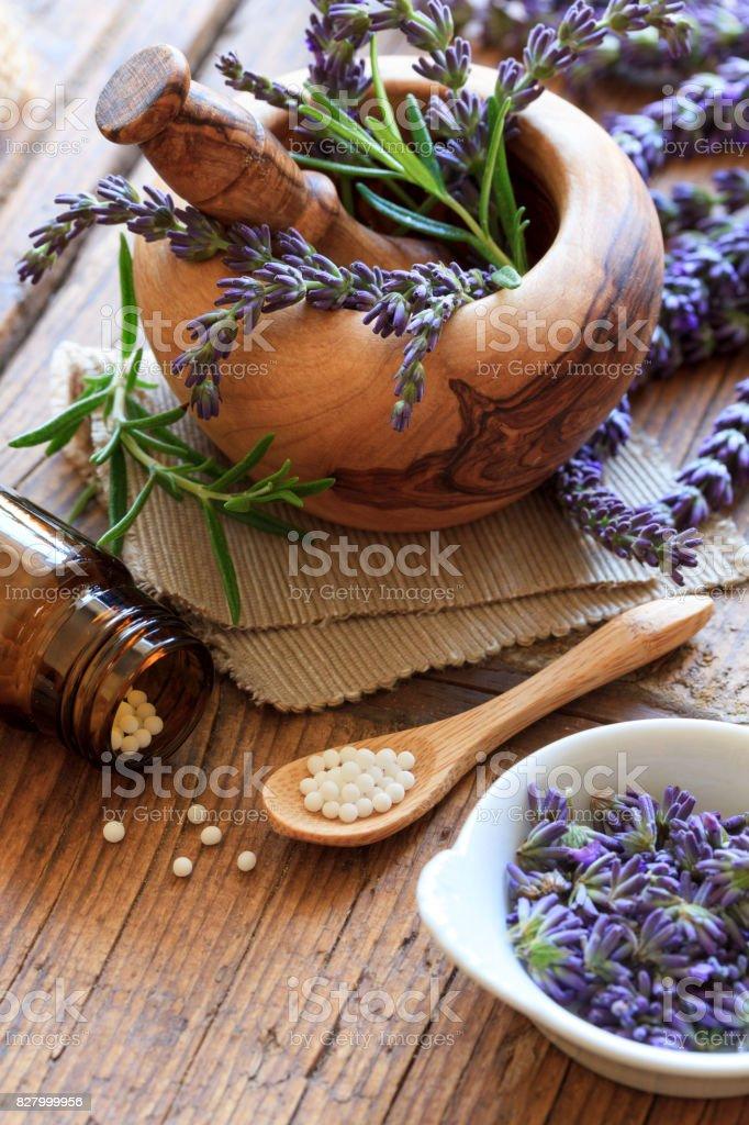 Globuli mit Lavendel stock photo