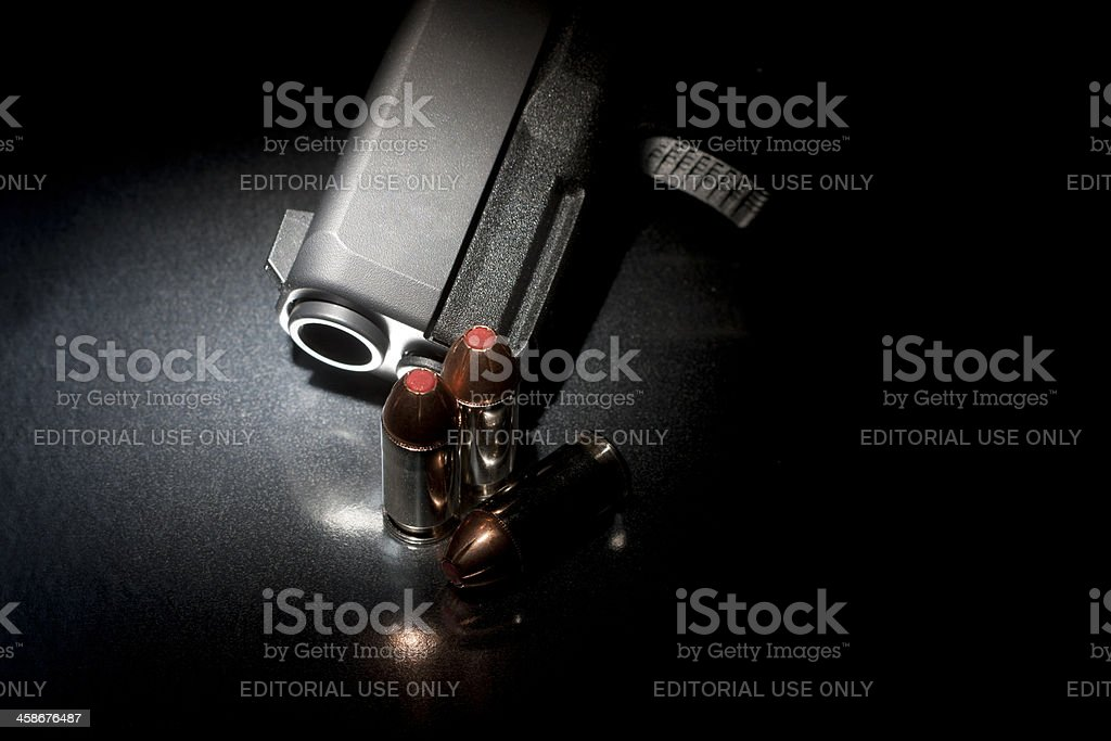 Glock 30SF - Barrel View With Bullets royalty-free stock photo