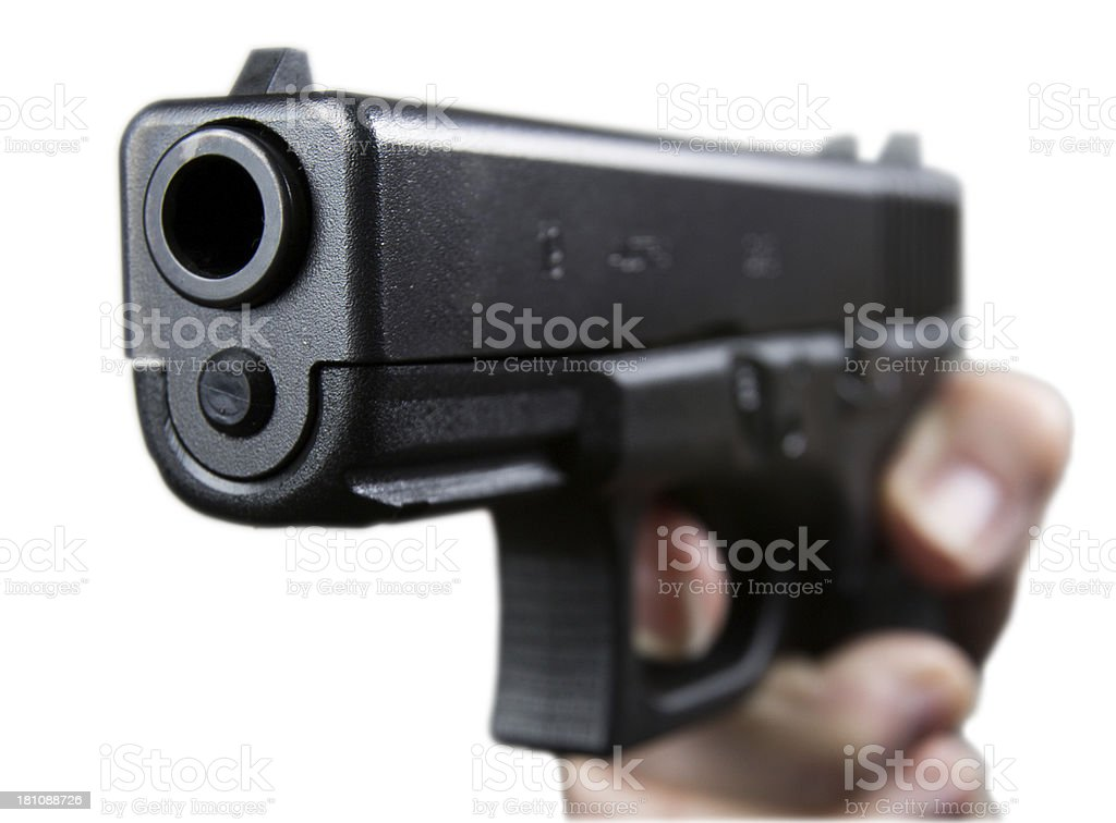 Glock Pistol on white background with clipping path royalty-free stock photo