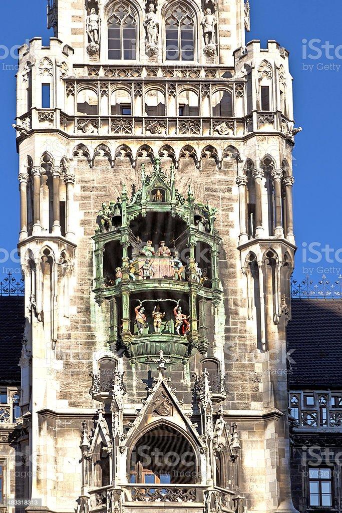Glockenspiel on the Munich city hall stock photo