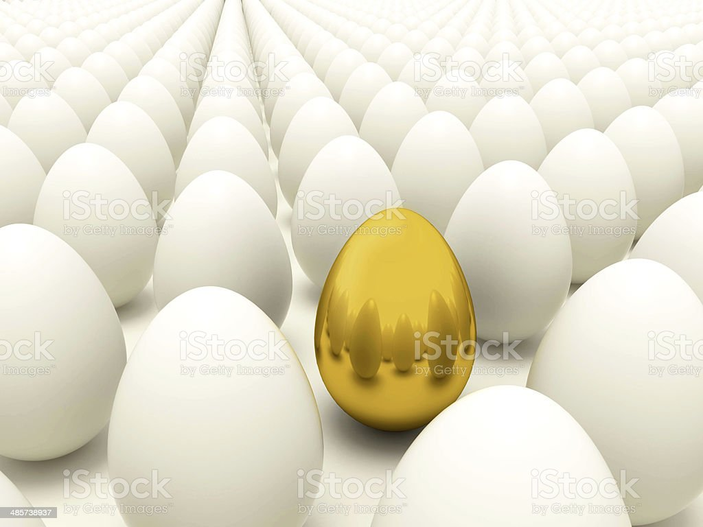 Glod egg in rows of normal eggs - Easter time stock photo
