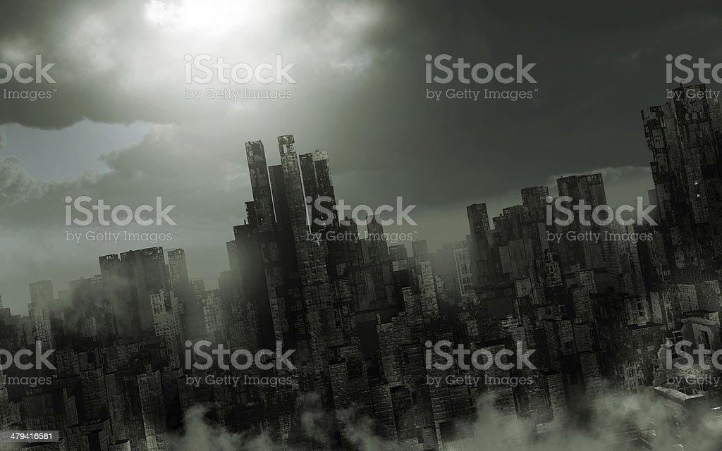 Gloomy apocalyptic scenery stock photo