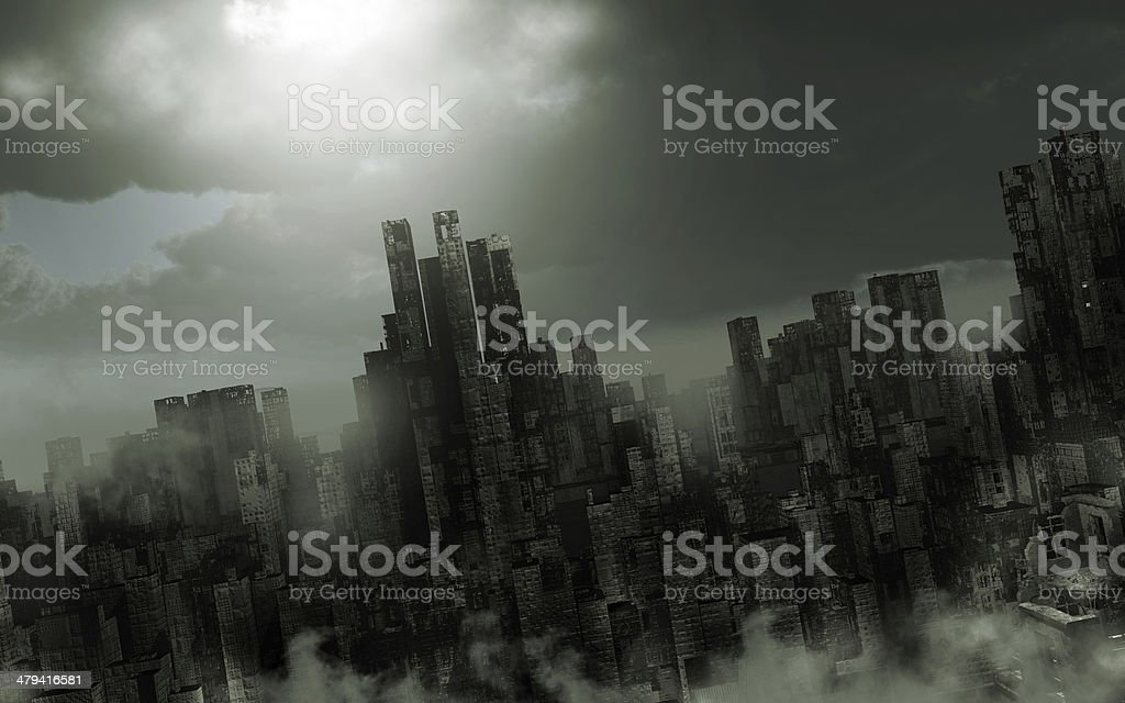 Gloomy apocalyptic scenery stock photo