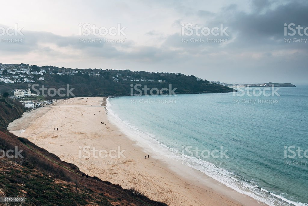 Gloomy day at Carbis Bay near St Ives in Cornwall stock photo