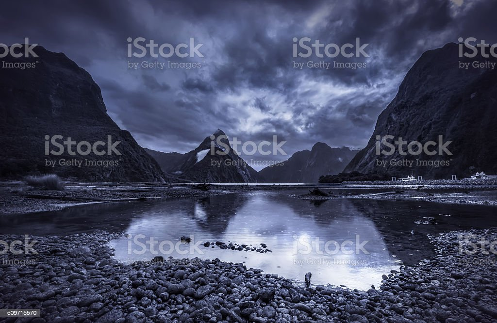Gloomy Day at Milford Sound stock photo