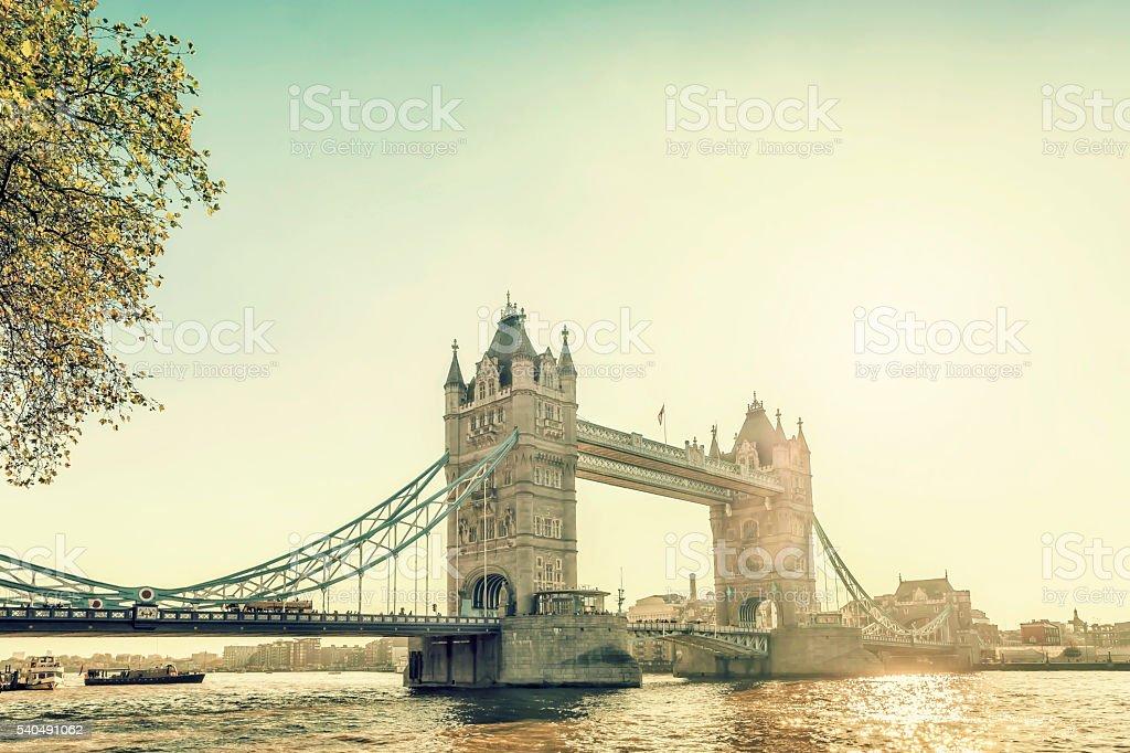 Gloomy London Tower Bridge stock photo