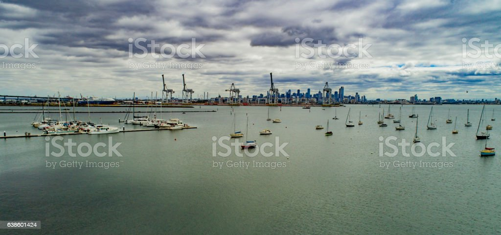 Gloomy Melbourne stock photo