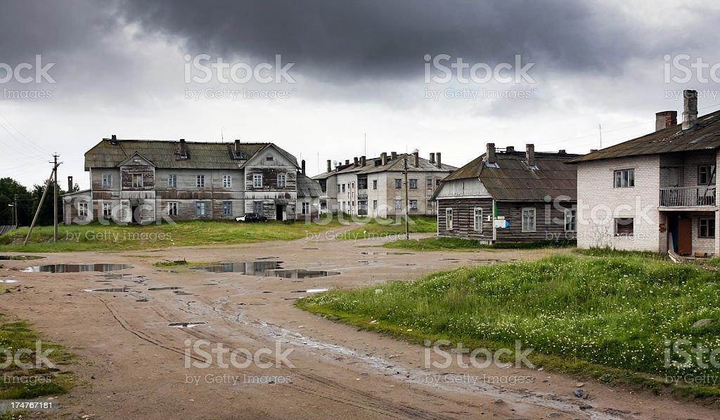 Gloomy morning in Solovki stock photo