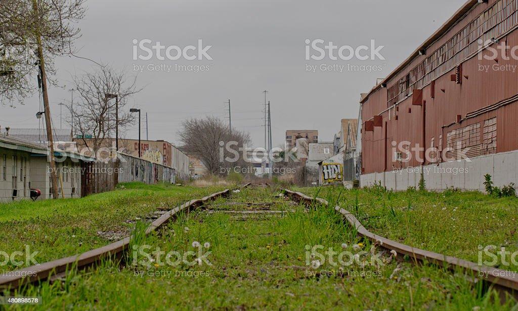 Gloomy Traintracks in Autumn stock photo