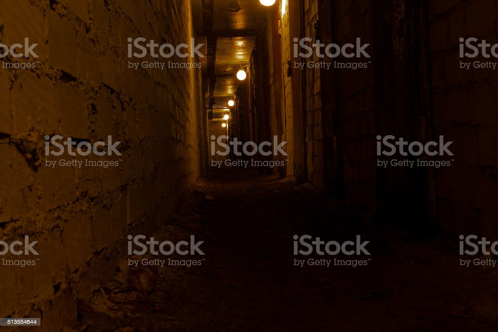 gloomy tunnel poorly lit with lots of rusty door stock photo