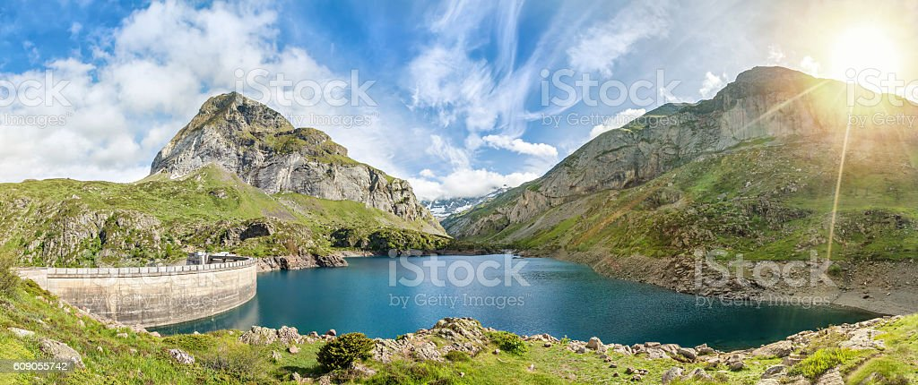 Gloriettes lake, Hautes-Pyrenees, France stock photo