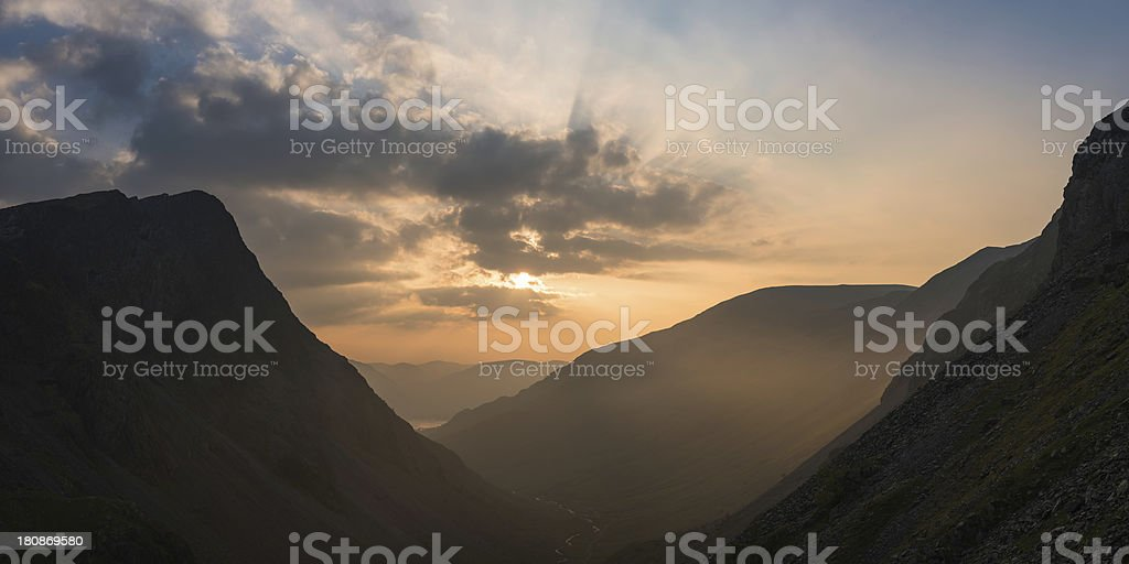 Glorious golden light filling mountain valley Buttermere Lake District Cumbria royalty-free stock photo