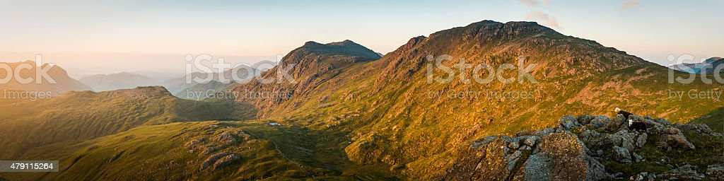 Glorious golden sunrise on the Western Fells Lake District panorama stock photo