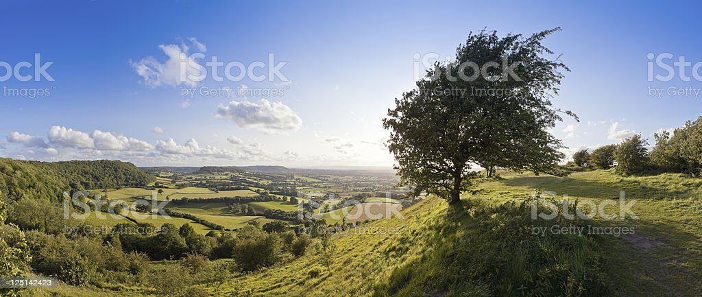 Glorious sweeping panoramic landscape of English countryside in summer. royalty-free stock photo