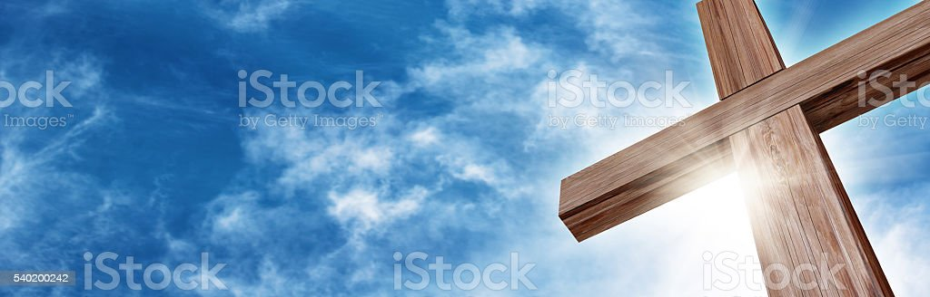 Glorious Wooden Cross stock photo
