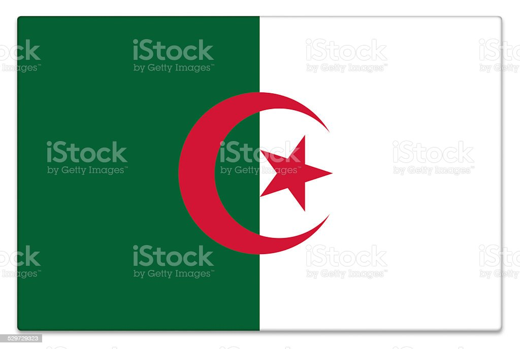 Gloss flag of Algeria on white stock photo