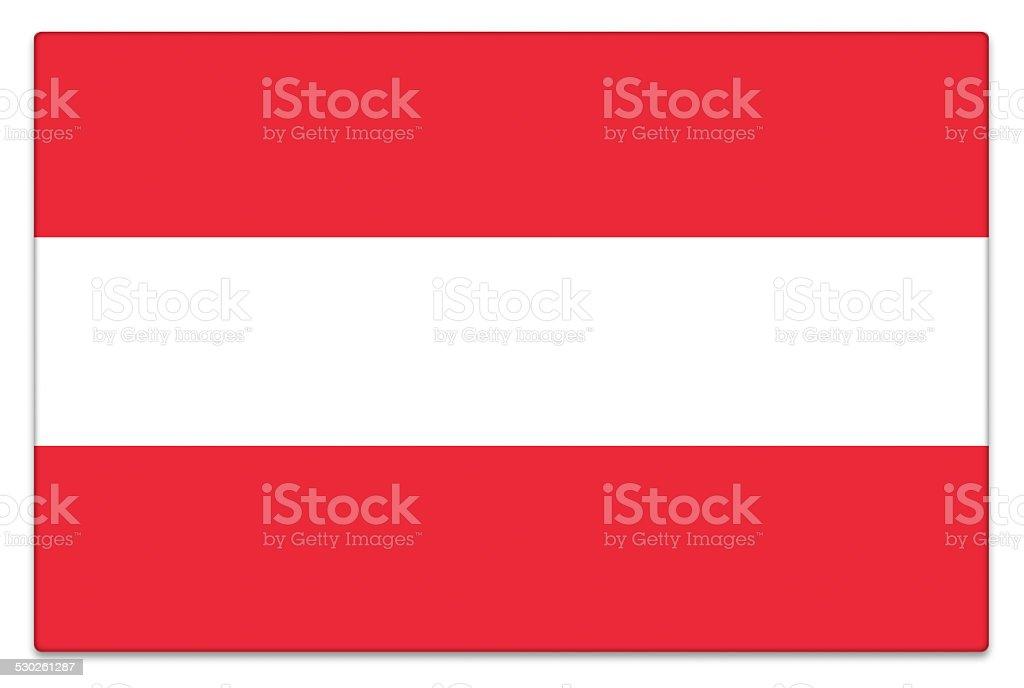 Gloss flag of Austria on white stock photo