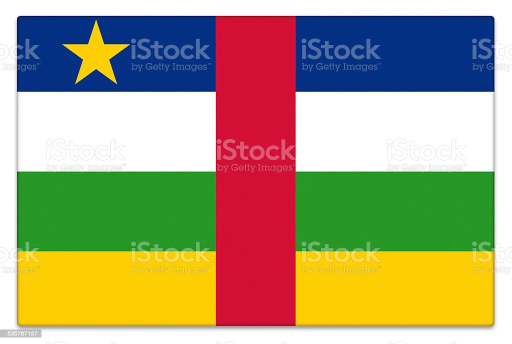 Gloss flag of Central African Republic on white stock photo