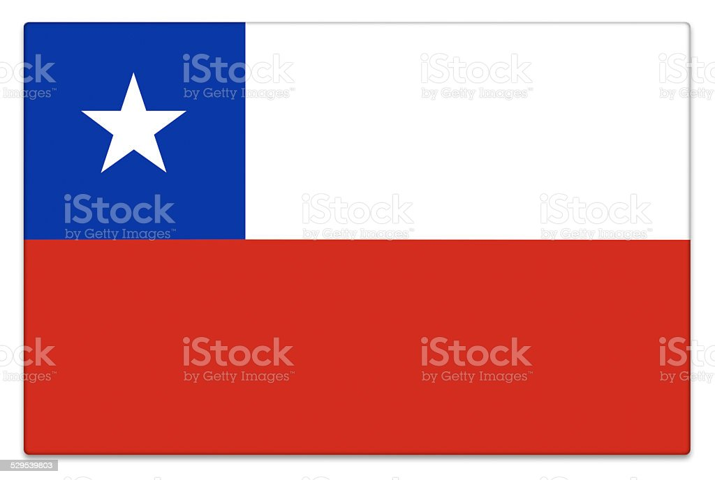 Gloss flag of Chile on white stock photo