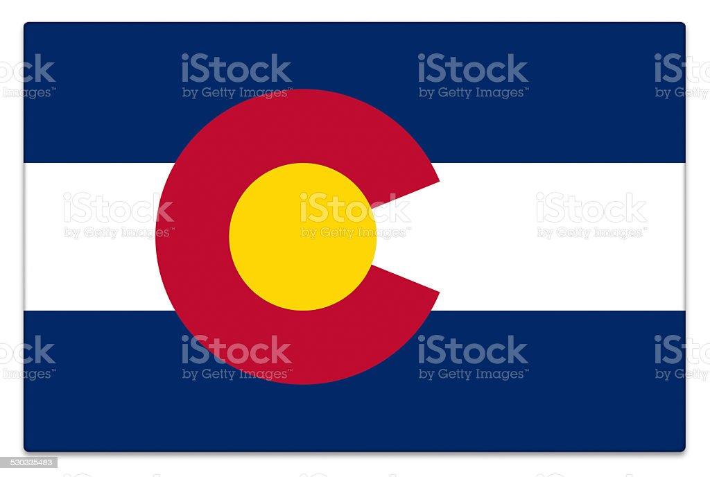 Gloss flag of Colorado on white stock photo