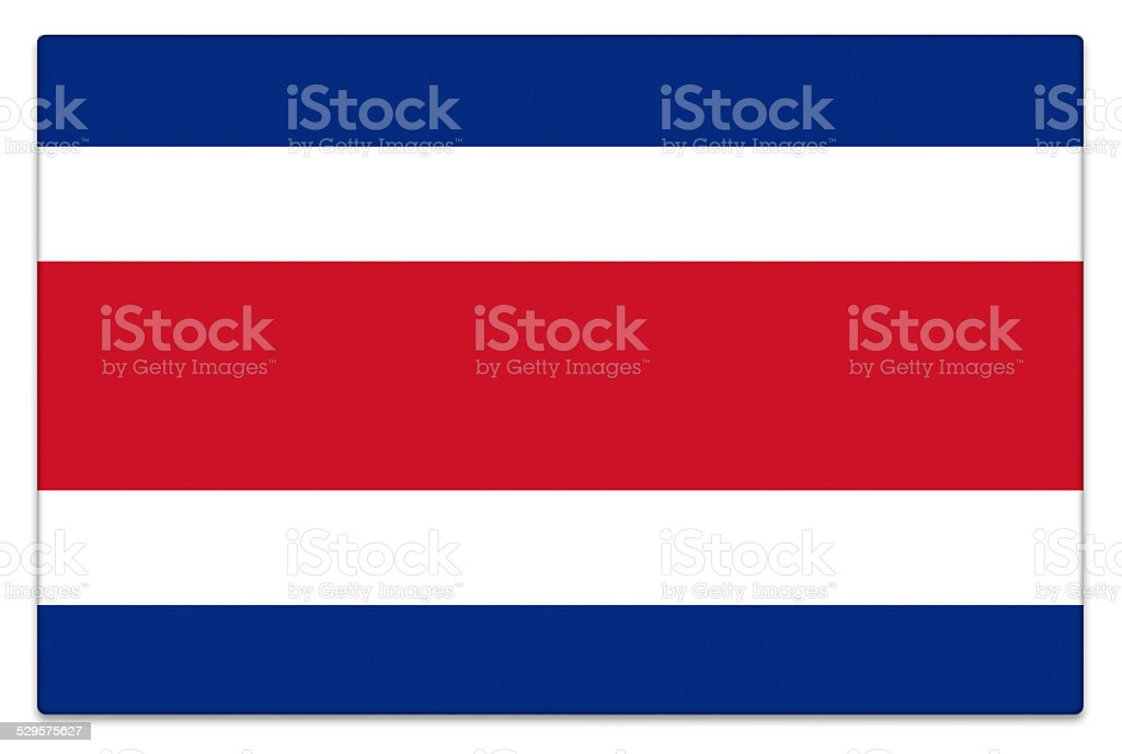 Gloss flag of Costa Rica on white stock photo