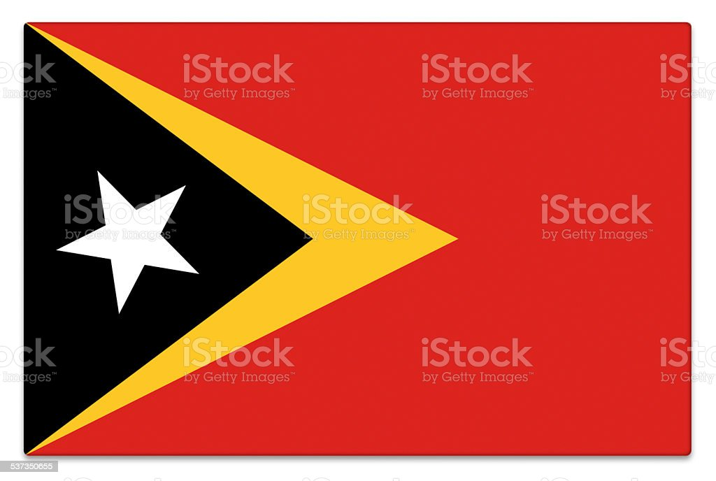 Gloss flag of East Timor on white stock photo