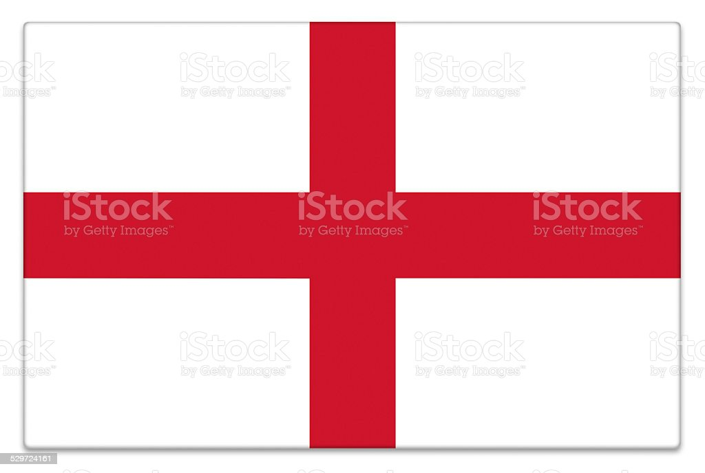 Gloss flag of England on white stock photo