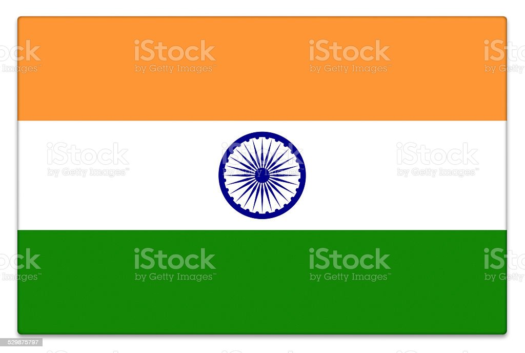 Gloss flag of India on white stock photo
