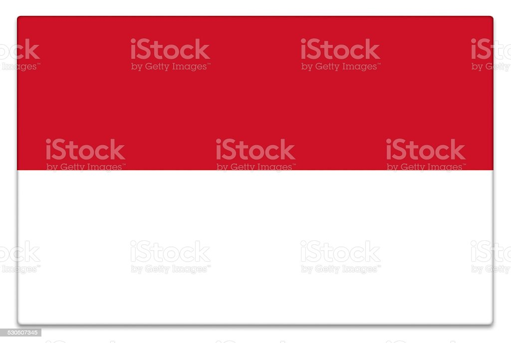 Gloss flag of Indonesia on white stock photo