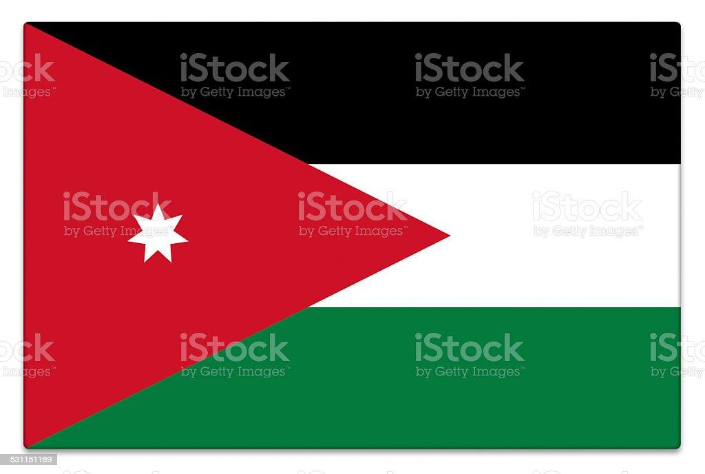 Gloss flag of Jordan on white stock photo