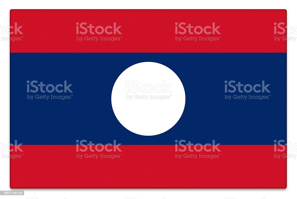 Gloss flag of Laos on white stock photo