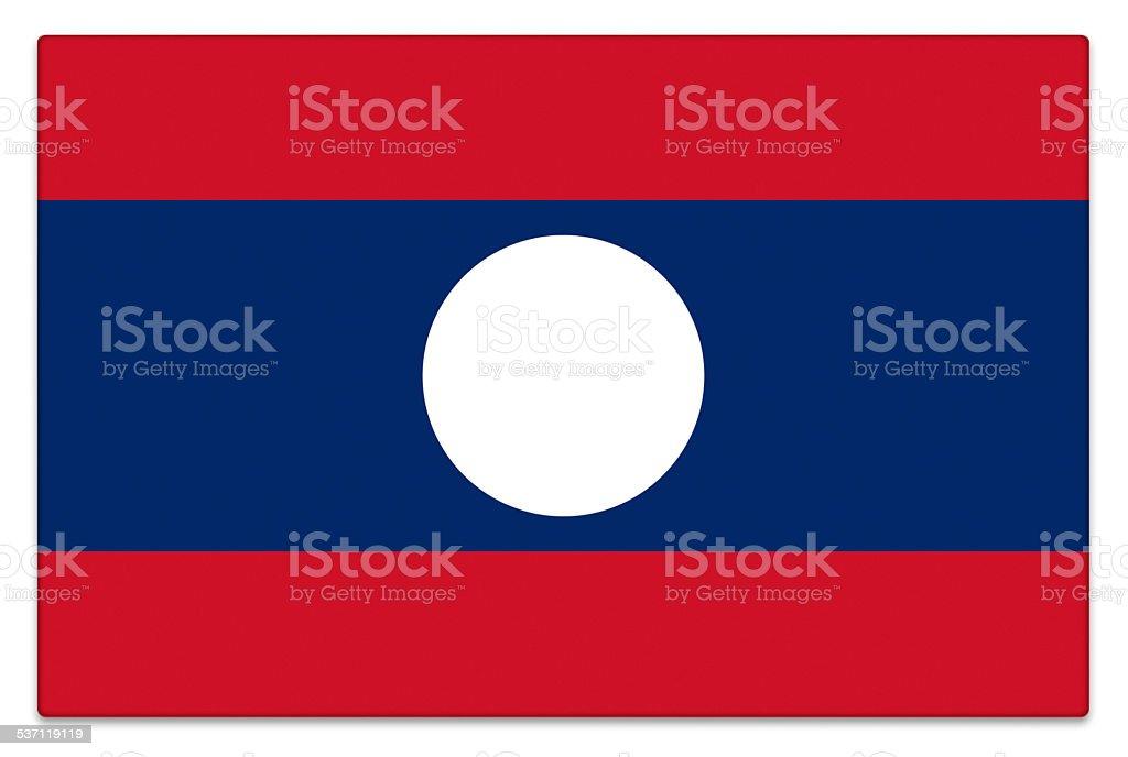Gloss flag of Laos on white stock photo