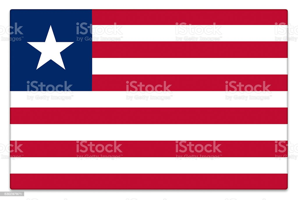 Gloss flag of Liberia on white stock photo