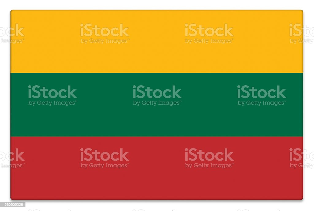 Gloss flag of Lithuania on white stock photo