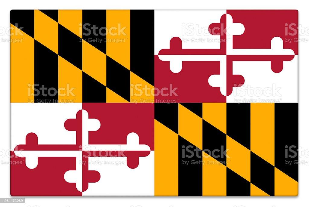 Gloss flag of Maryland on white stock photo
