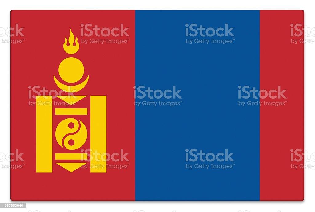 Gloss flag of Mongolia on white stock photo