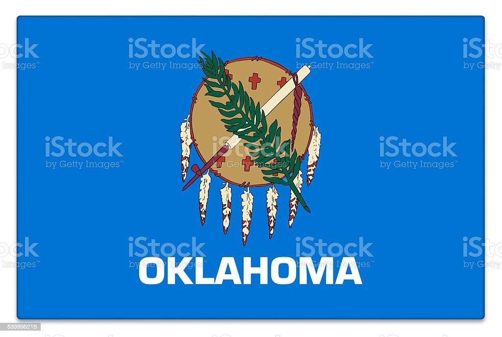 Gloss flag of Oklahoma on white stock photo