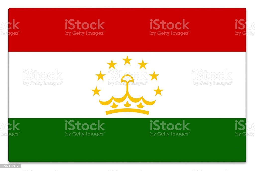 Gloss flag of Tajikistan on white stock photo
