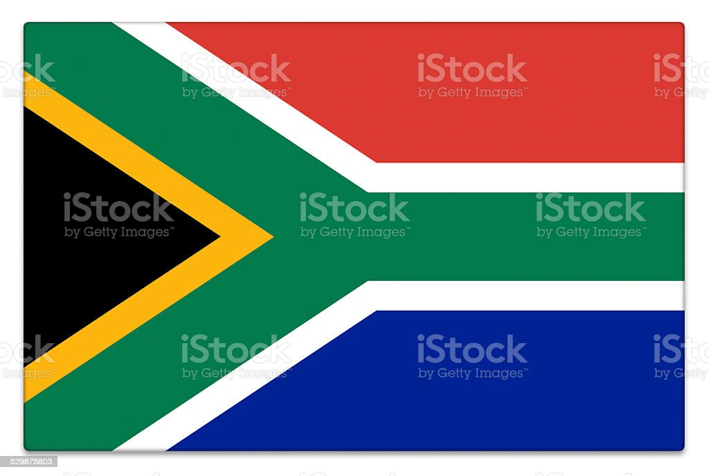 Gloss flag of the Republic of South Africa on white stock photo