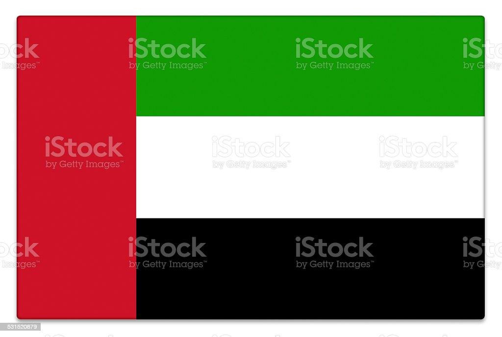 Gloss flag of United Arab Emirates on white stock photo