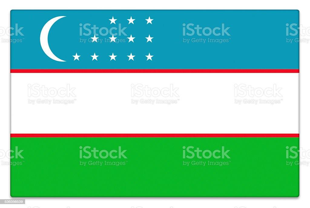 Gloss flag of Uzbekistan on white stock photo
