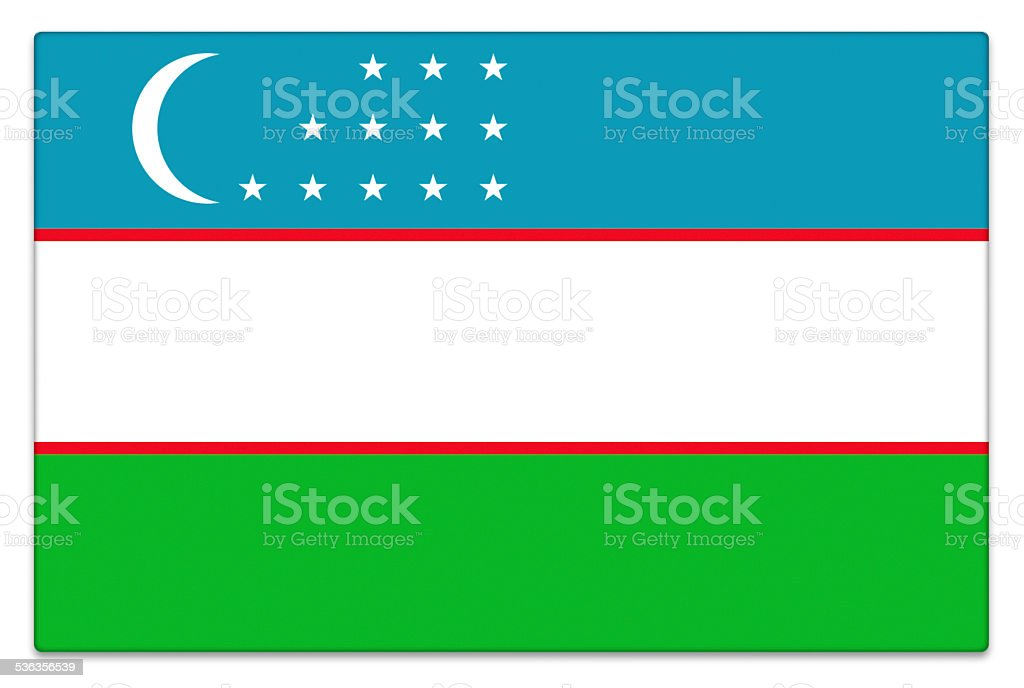 Gloss flag of Uzbekistan on white stock photo
