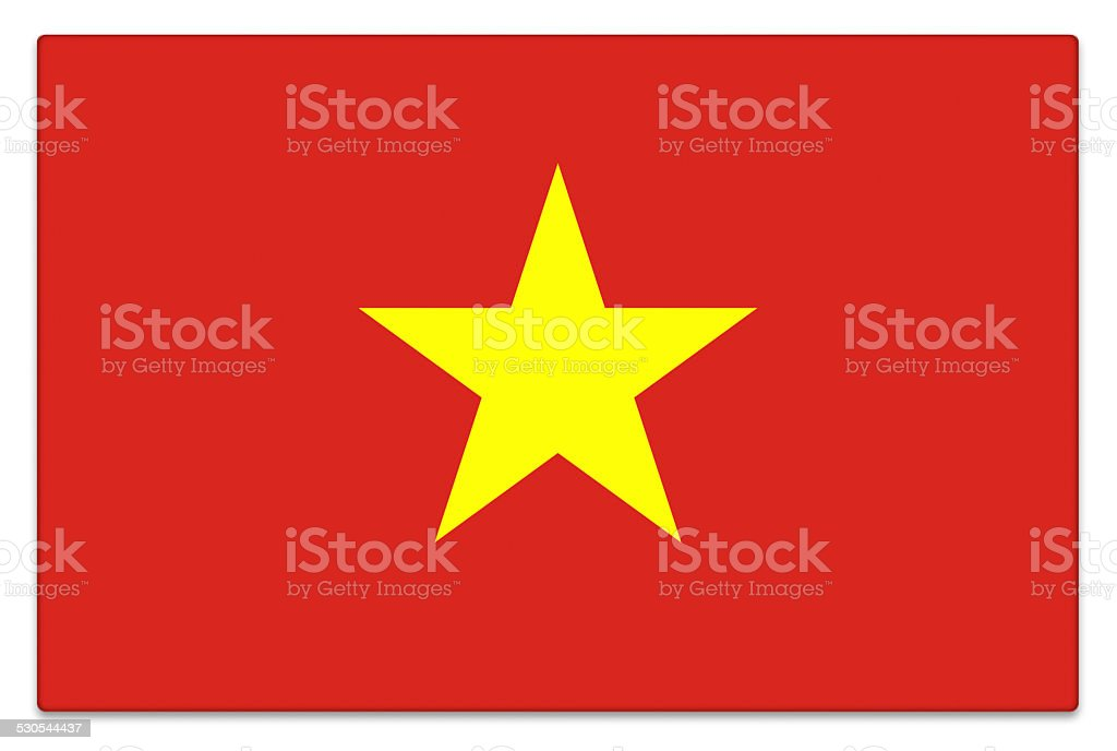 Gloss flag of Vietnam on white stock photo
