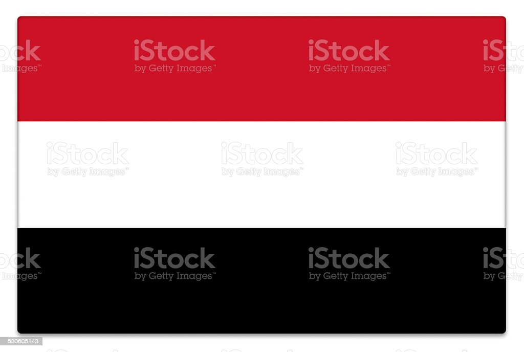 Gloss flag of Yemen on white stock photo