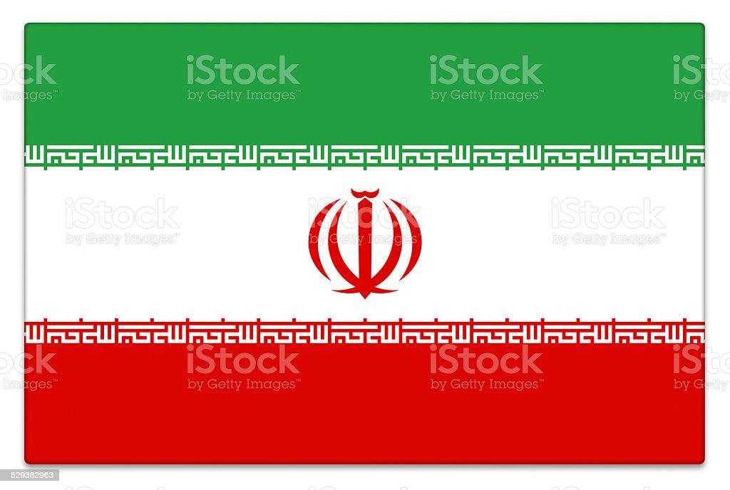 Gloss Iranian flag on white stock photo