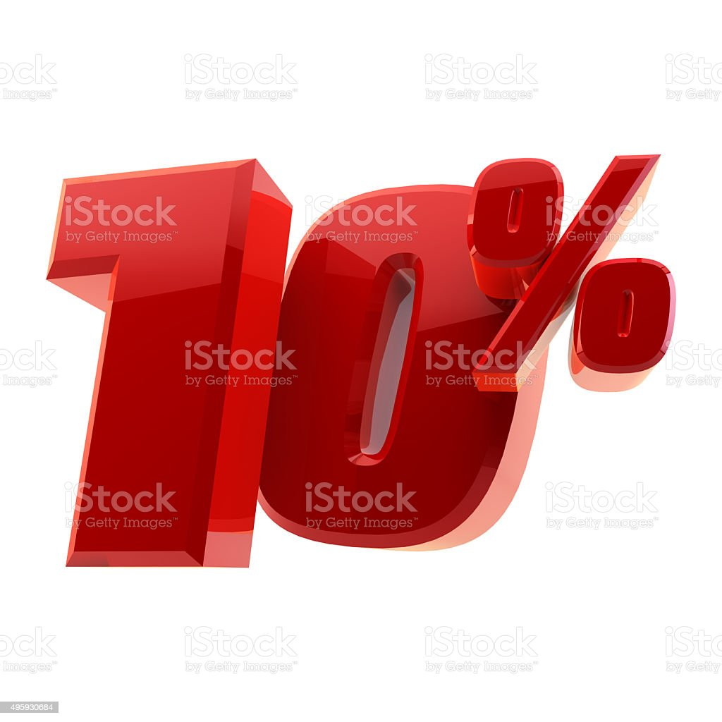 Glossy 10% discount symbol isolated on white background stock photo