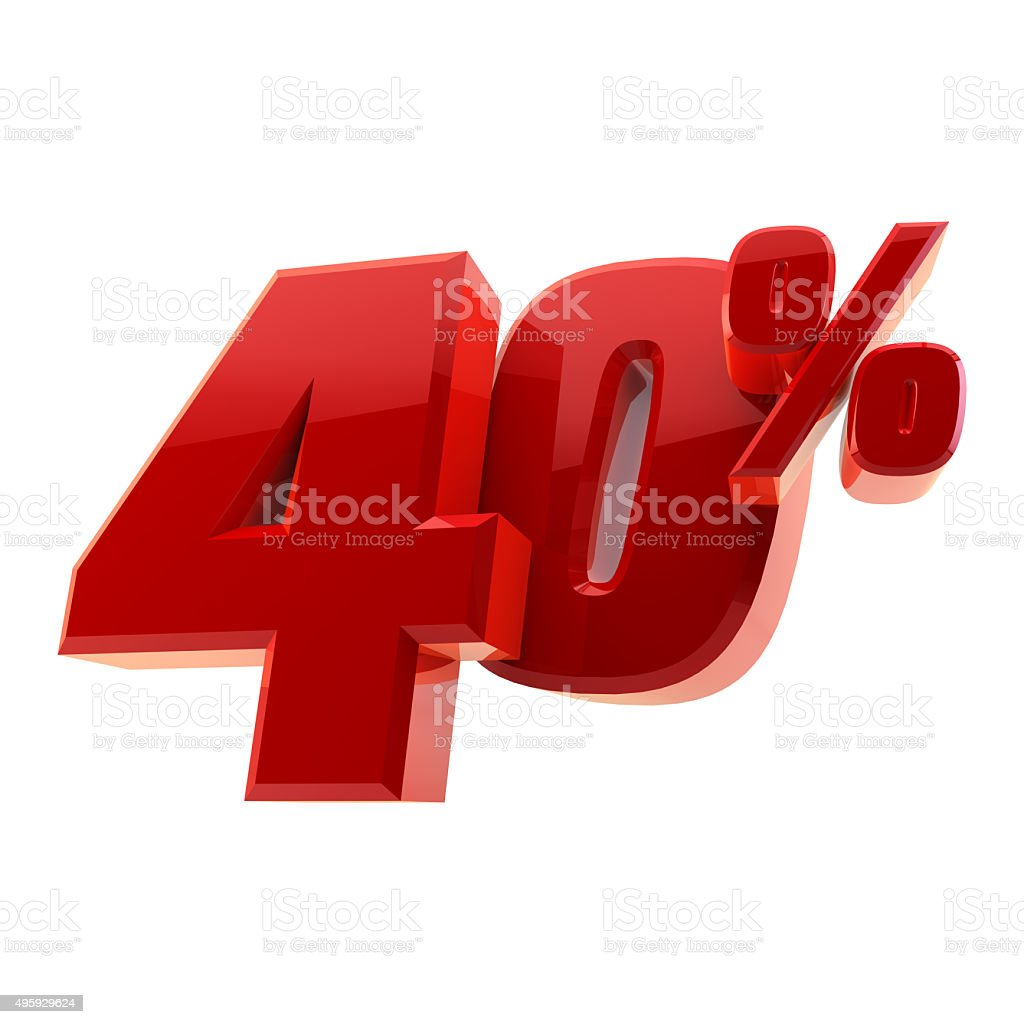 Glossy 40% discount symbol isolated on white background stock photo