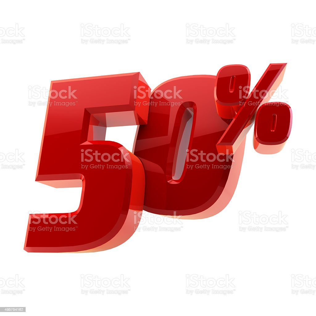 Glossy 50% discount symbol isolated on white background stock photo