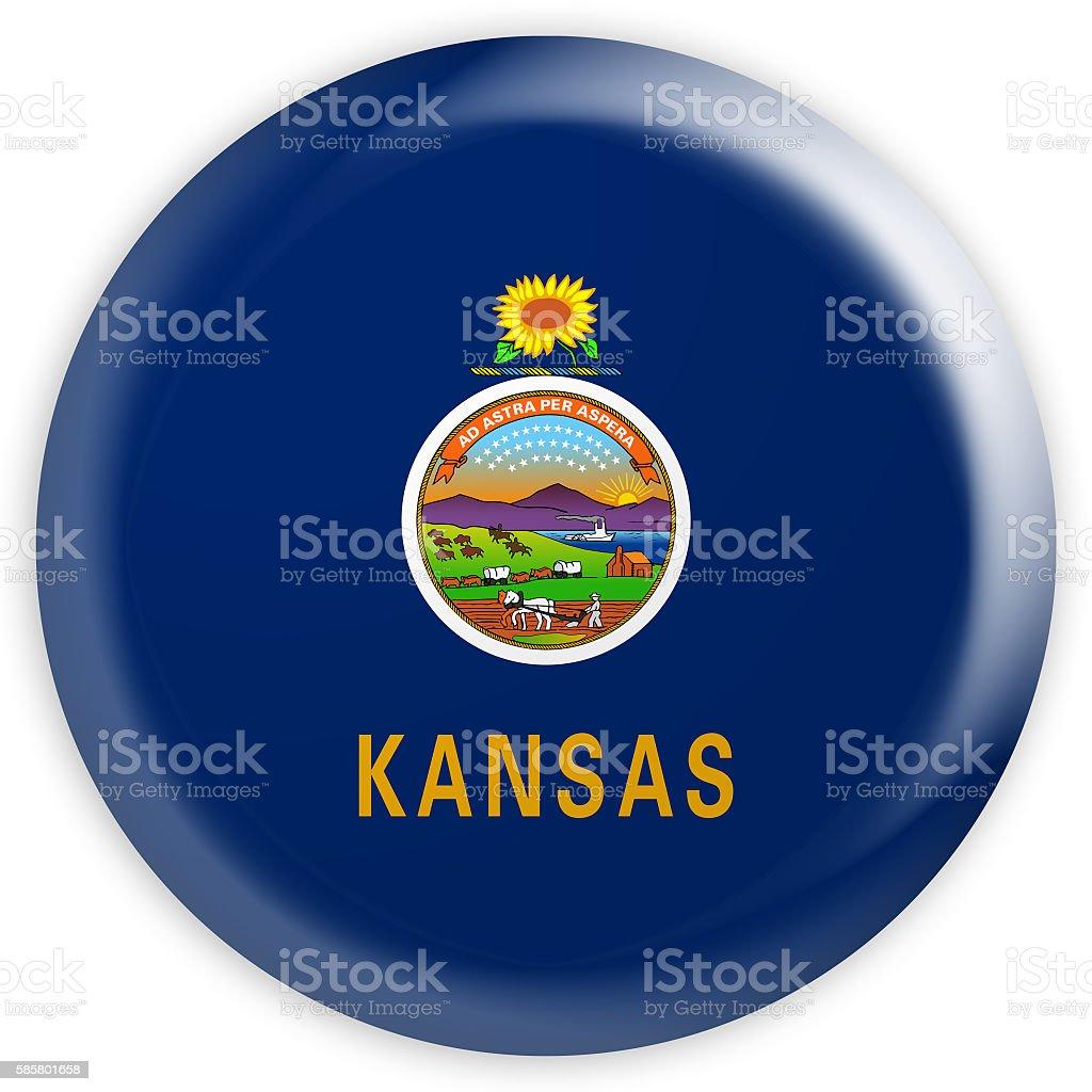 Glossy Badge Flag of US State Kansas, 3d illustration stock photo
